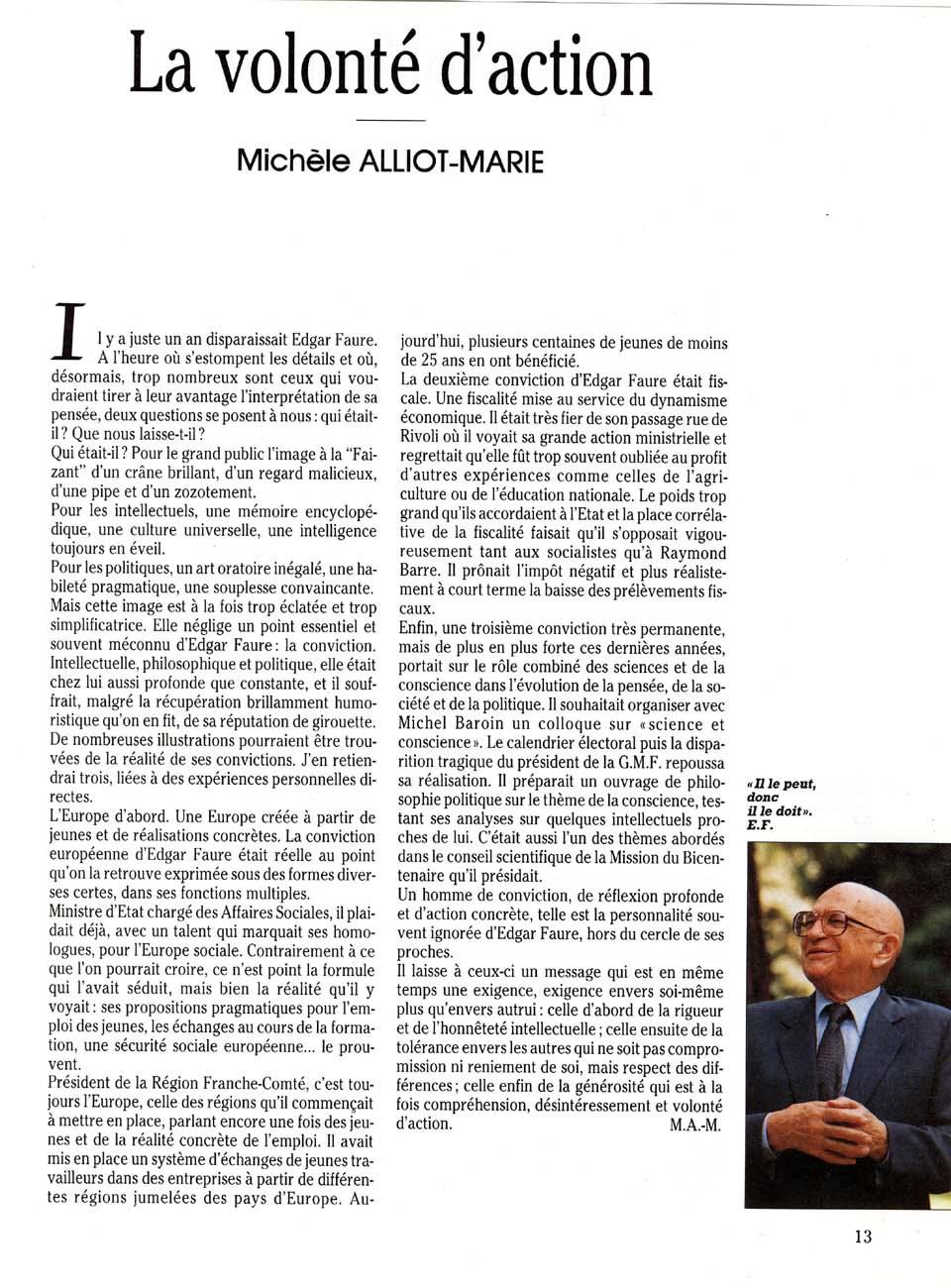 La volonté d'action (Michèle Alliot Marie)