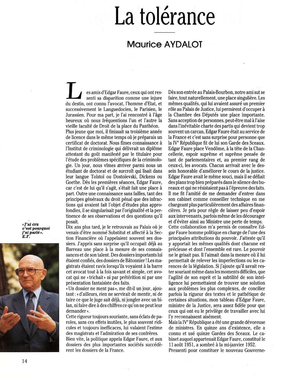 La tolérance (Maurice Aydalot)