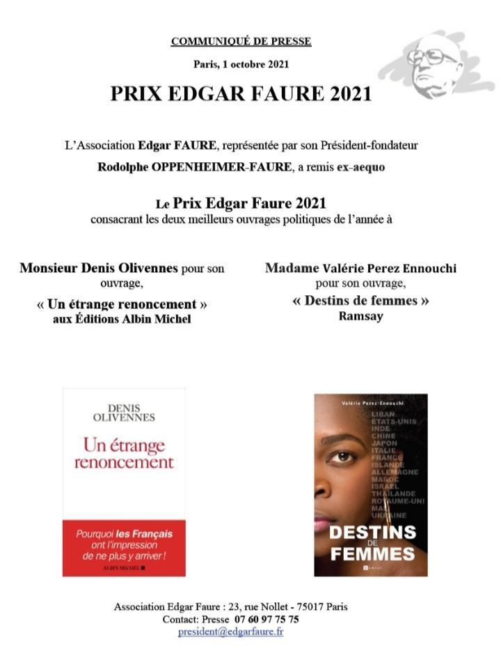 lauréats prix Edgar Faure 2021
